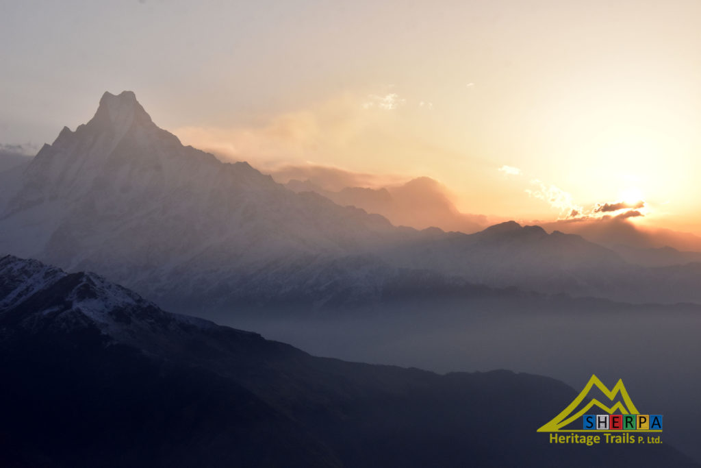 Sunrise on Machapuchre mountain